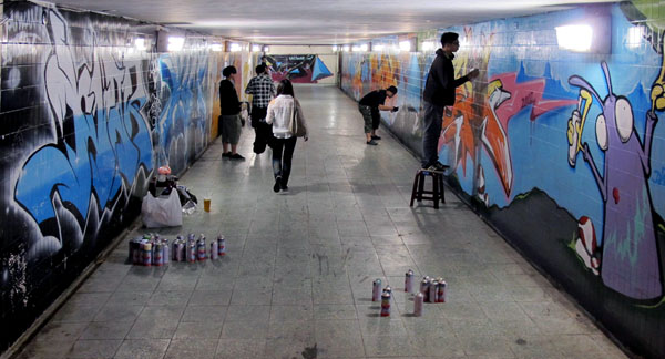 The east side of the underpass for Fengshan [Train] Station in Kaohsiung. It has been legal to paint in the Fengshan area since 2012. Image courtesy Kaohsiung City Government.